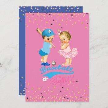 Babies Baseball Or Ballet Gender Reveal Invitation