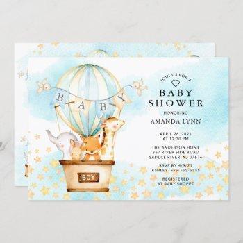 Baby Animals Hot Air Balloon Baby Boy Shower