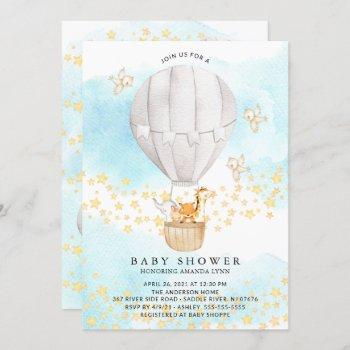 Baby Animals Hot Air Balloon Neutral Baby Shower Invitation
