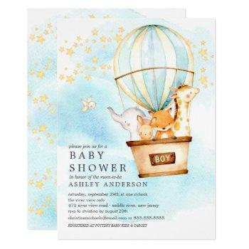 Baby Animals Hot Air Balloon Ride Baby Boy Shower Invitation