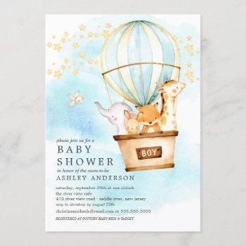 Baby Animals Hot Air Balloon Ride Baby Boy Shower Invitation