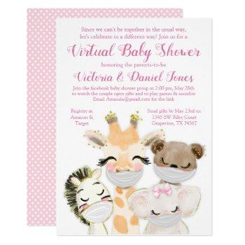 Baby Animals With Masks Drive By Covid Baby Shower Invitation