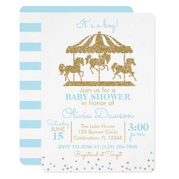 Baby Blue & Gold Carousel Boy Baby Shower Invitation
