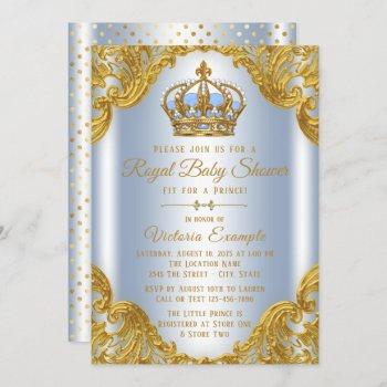 Baby Blue Gold Prince Baby Shower Invitations