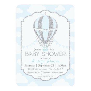 Baby Blue Hot Air Balloon Boy Baby Shower Invitation