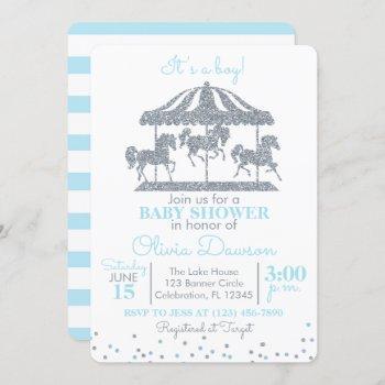 Baby Blue & Silver Carousel Boy Baby Shower Invitation