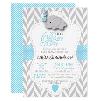 Baby Blue, White Gray Elephant 🐘 Baby Shower Invitation