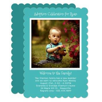 Baby Boy Adoption Party Photo Invitation Template