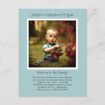Baby Boy Adoption Party Photo Invitation Template