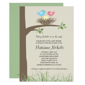 Baby Boy Bird's Nest Baby Shower Invitation