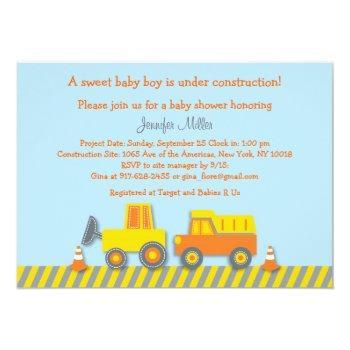 Baby Boy Construction Truck Baby Shower Invitation