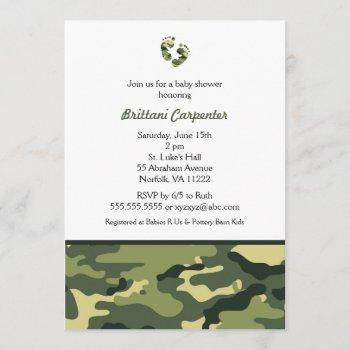 Baby Boy Green Camouflage Shower Invites Feet Camo