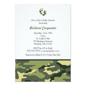 Baby Boy Green Camouflage Shower Invites Feet Camo