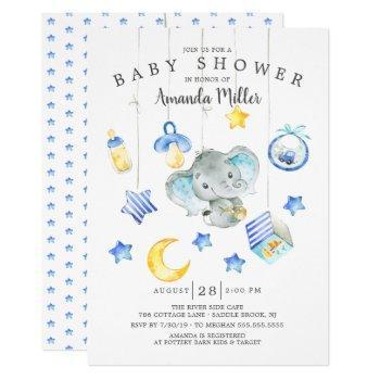 Baby Boy Mobile Elephant Baby Shower Invitation