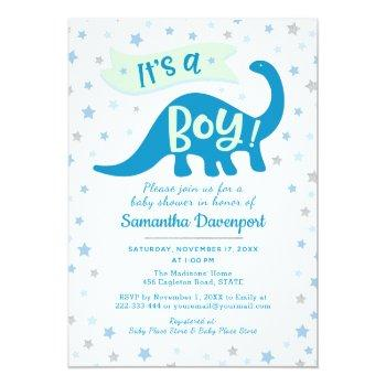 Baby Boy Shower Dinosaur Blue Theme It's A Boy Invitation