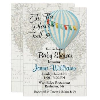 Baby Boy Shower Hot Air Balloon Invitation