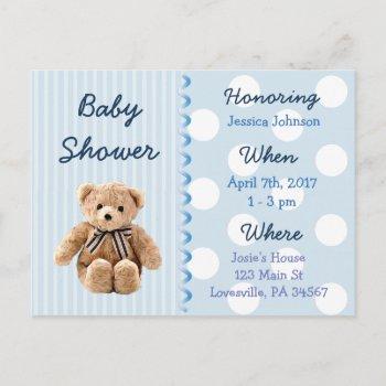 Baby Boy Teddy Bear Blue Baby Shower Invitation