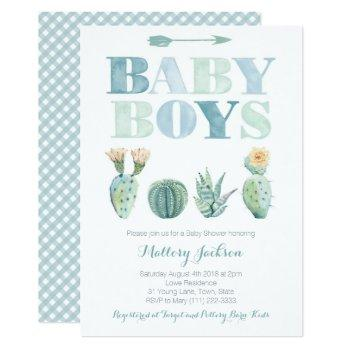 Baby Boy Twins Or Triplets Cactus Baby Shower Invitation