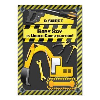 Baby Boy Under Construction Shower Invitation
