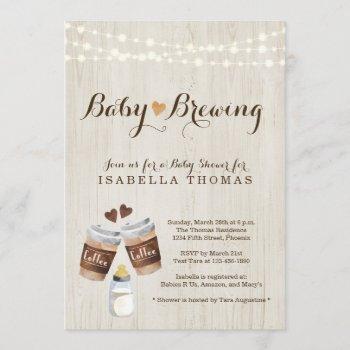 Baby Brewing Coffee Baby Shower Invitation
