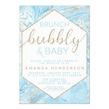 Baby Brunch Blue Marble Baby Shower Invitation