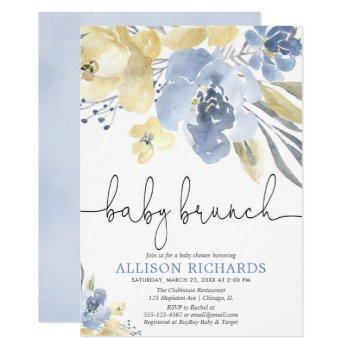 Baby Brunch Boy Baby Shower Dusty Blue Yellow Invitation