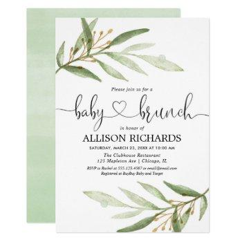 Baby Brunch Gender Neutral Greenery Baby Shower Invitation