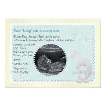 Baby Bunny Blue Photo Baby Shower Invitation