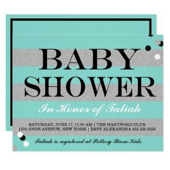 Baby Co Teal Blue & Silver Sprinkle Shower Party Invitation