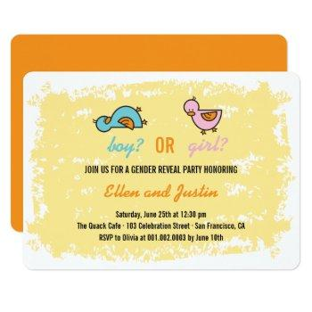 Baby Ducklings Boy Or Girl Gender Reveal Party Invitation