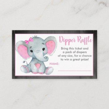 Baby Elephant Diaper Raffle Ticket Gender Reveal Enclosure Card