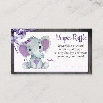 Baby Elephant Diaper Raffle Ticket Purple Floral Enclosure Card