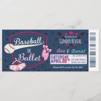 Baby Gender Reveal - Baseballs Or Ballet Invitation