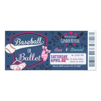 Baby Gender Reveal - Baseballs Or Ballet Invitation