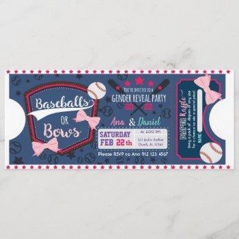 Baby Gender Reveal Baseballs Or Bows Diaper Raffle Invitation
