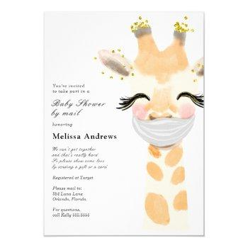 Baby Giraffe With Mask Baby Shower By Mail Invitation