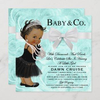 Baby Girl Baby Shower Turquoise Blue Invitation