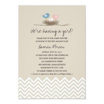 Baby Girl Bird's Nest Baby Shower Invitation