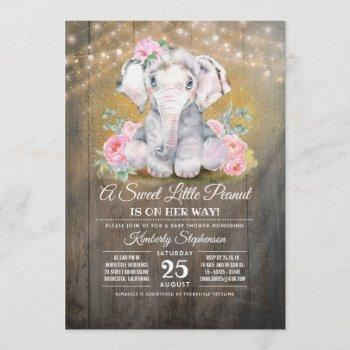 Baby Girl Elephant Floral Baby Shower Invitation