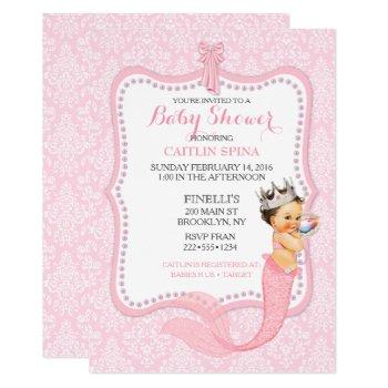 Baby Girl Mermaid Princess Crown Damask Invitation