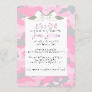 Baby Girl Pink Camo Shower Party Invite