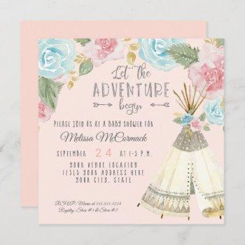 Baby Girl Shower Adventure Begin Teepee W Roses Invitation
