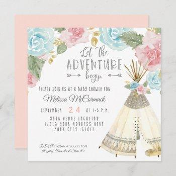 Baby Girl Shower Teepee Let The Adventure Begin Invitation