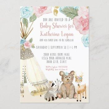 Baby Girl Shower Woodland Bear Deer Floral Teepee Invitation