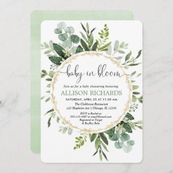 Baby In Bloom Gender Neutral Greenery Baby Shower Invitation
