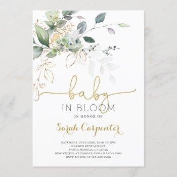 Baby In Bloom Greenery Invitation
