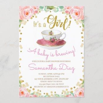 Baby Is Brewing Tea Party Baby Shower Girl Pink