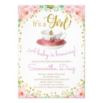 Baby Is Brewing Tea Party Baby Shower Girl Pink Invitation