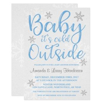 Baby It's Cold Outside Baby Shower Invite - Blue
