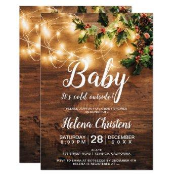 Baby It's Cold Outside Country Mistletoe Lights Invitation